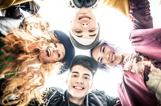 Group of emotional teens